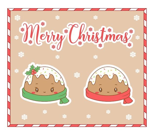 Buon natale simpatici biscotti allo zenzero da colorare disegno scheda con sciarpa e neve per la stagione invernale