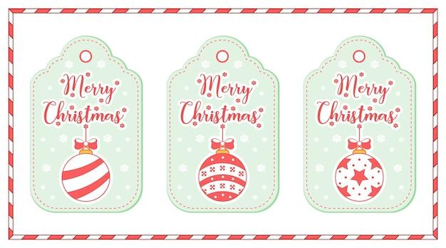 Buon natale simpatici ornamenti da colorare tag disegno scheda con neve per la stagione invernale
