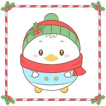 Buon natale carino disegno paperino con cappello di bacche di natale e sciarpa rossa per la stagione invernale