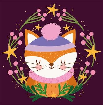 Buon natale, volpe sveglia con il cappello nell'illustrazione di vettore della decorazione dei fiori della corona