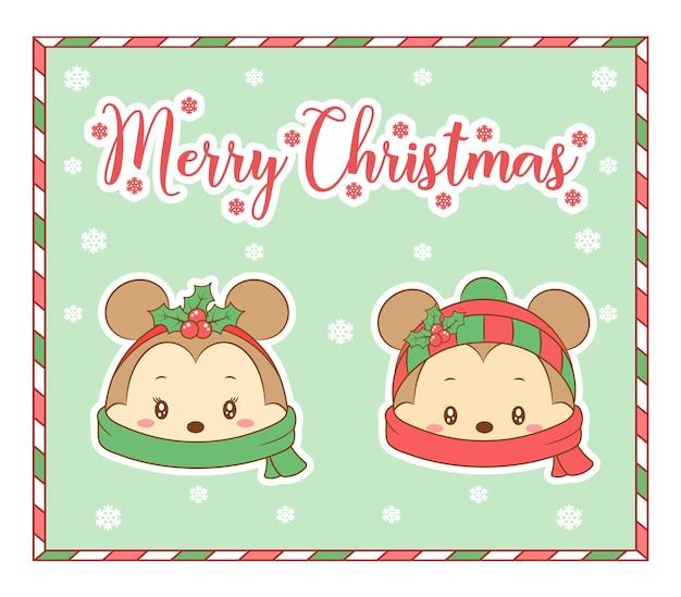 Biglietto da disegno simpatico topo di buon natale con sciarpa e neve per l'inverno