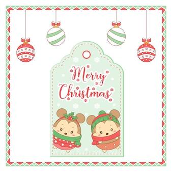 Buon natale simpatici topi disegno scheda tag con ornamenti