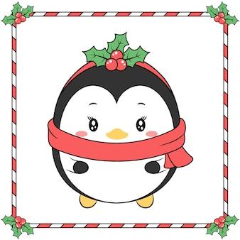 Buon natale simpatico pinguino disegno con bacche di natale e stagione invernale sciarpa rossa