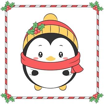 Buon natale simpatico pinguino disegno con cappello giallo bacca di natale e sciarpa rossa stagione invernale