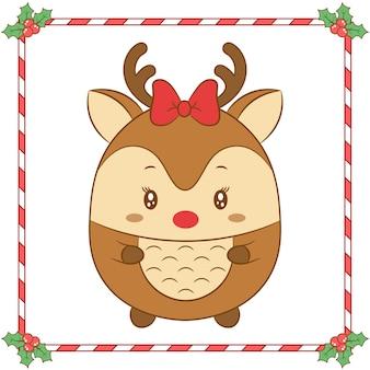 Buon natale carino renna disegno con fiocco rosso