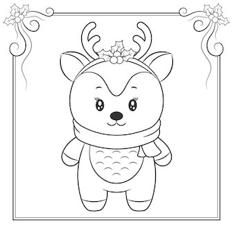 Buon natale carino renna con sciarpa disegno schizzo per colorare