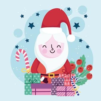 Buon natale carino santa scatole regalo caramelle e bacche di agrifoglio