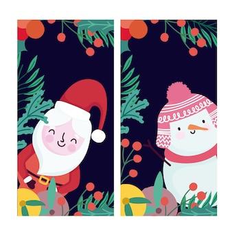 Buon natale carino santa pupazzo di neve frutti e bandiere di bacche di agrifoglio