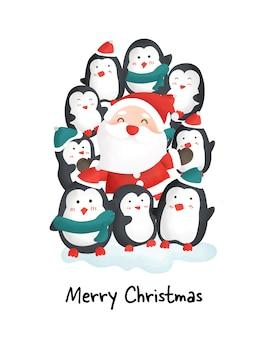 Buon natale con simpatici pinguini e babbo natale.