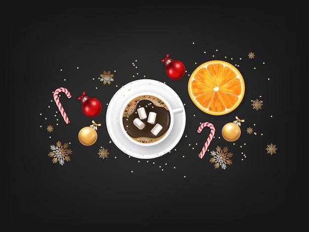 Buon natale, elementi decorativi di design, inverno, sfondo di celebrazione, luci realistiche, caffè e marshmallow, caramelle di natale, palla rossa e arancia