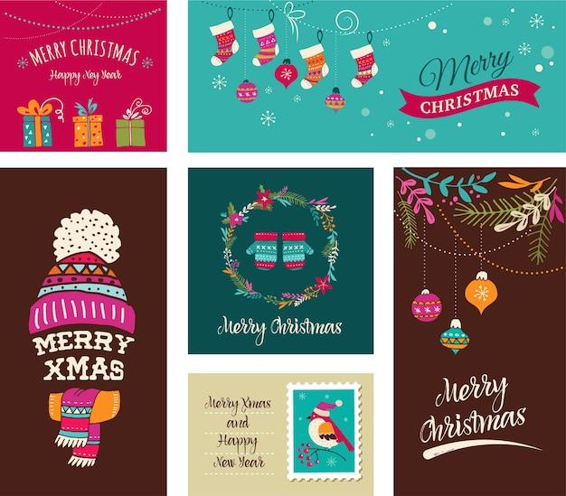 Merry christmas design greeting cards - doodle illustrazioni di natale con uccelli, ghirlande, alberi