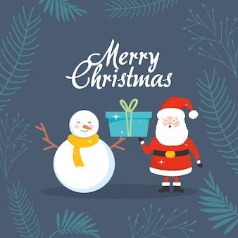 Buon natale design con cartoon pupazzo di neve e babbo natale con in mano una confezione regalo su uno sfondo grigio, design colorato