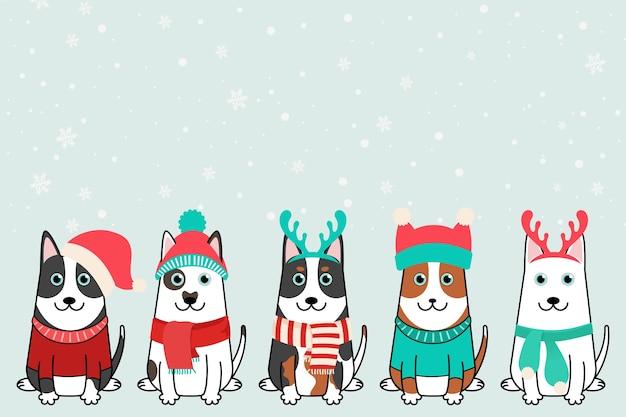 Cani di buon natale, collezione di animali domestici di natale in cappelli di babbo natale.