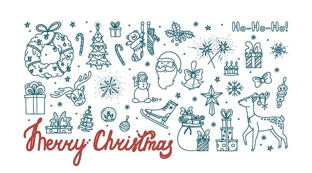 Buon natale doodle card con tutti gli oggetti per le vacanze schizzo di natale disegnato a mano
