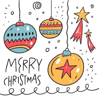 Gli elementi di buon natale hanno impostato lo stile di doodle. campane e stelle colorato fumetto illustrazione vettoriale. isolato su sfondo bianco.