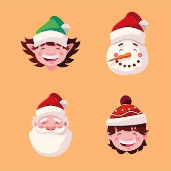 Buon natale elfo pupazzo di neve babbo natale e ragazzo bambino, stagione invernale e tema della decorazione