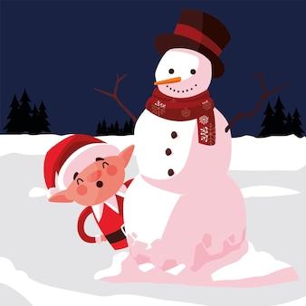 Buon natale elfo e pupazzo di neve nella scena della neve illustrazione