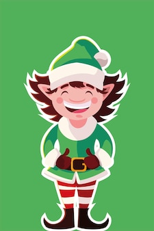 Buon natale elfo, stagione invernale e tema della decorazione