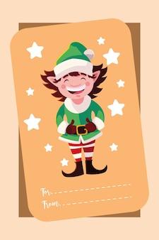 Buon natale elfo con stelle, stagione invernale e tema decorativo