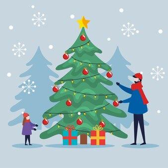 Buon natale padre e figlio con albero di pino e regali