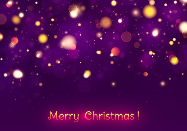 Bokeh festivo delle luci porpora e dorate di buon natale.
