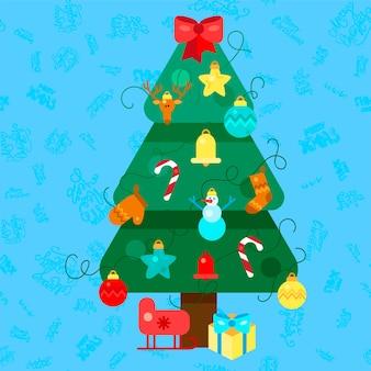 Buon natale abete. albero di natale. illustrazione di felice anno nuovo. elementi di design di natale per inviti per le vacanze, auguri, biglietti e titoli, titolo, adesivo, emblema, stampa, magnete. vettore