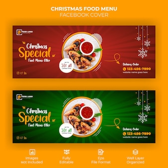 Banner di copertina di facebook menu cibo di buon natale