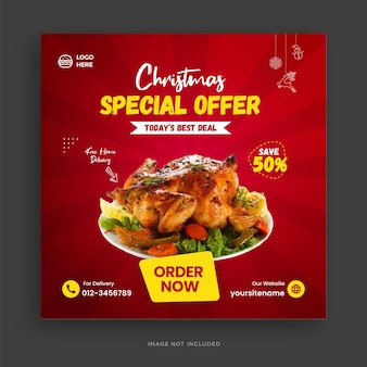 Modello di banner per social media del menu di cibo di buon natale