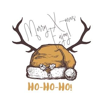 Emblema, logo, etichetta o distintivi divertenti di buon natale. illustrazione disegnata a mano di festa felice festa con il cappello della santa e le corna dei cervi