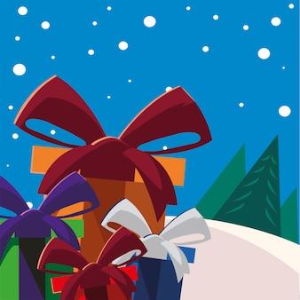 Contenitori di regalo di buon natale con decorazione a nastro nell'illustrazione della scena invernale