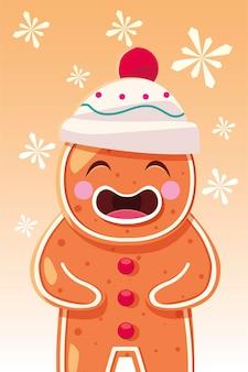 Pan di zenzero di buon natale, stagione invernale e tema decorativo
