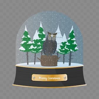 Sfera di vetro di buon natale con un gufo e alberi di natale nella neve. vettore del globo della neve