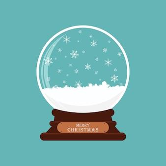 Sfera di vetro di buon natale con neve