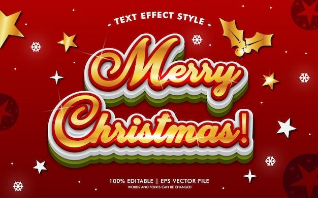 Stile di effetti del testo delle luci dell'oro di buon natale