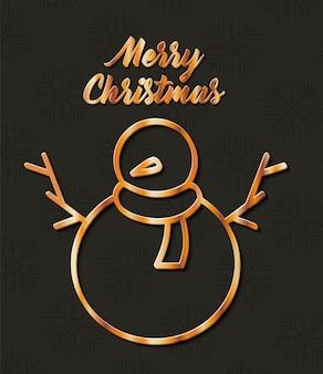 Buon natale pupazzo di neve d'oro design, stagione invernale e tema decorativo