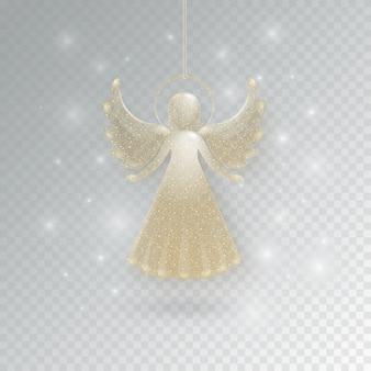Angelo di vetro dorato di buon natale con scintillii su uno sfondo trasparente. angelo festivo con luccichii e lampi, luce incandescente.