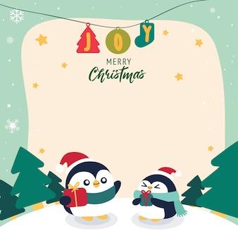 Fondo di saluto di buon natale con il fumetto del pinguino