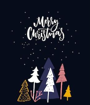 Biglietto di auguri di buon natale design blu con alberi della foresta notturna e calligrafia scritta a mano
