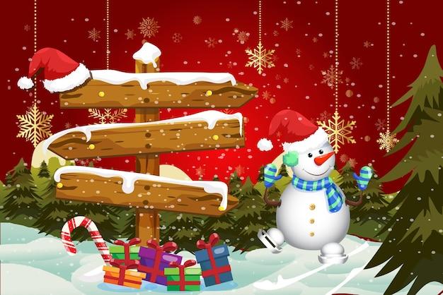 Cartolina d'auguri di buon natale sfondo rosso celebrativo con pupazzo di neve