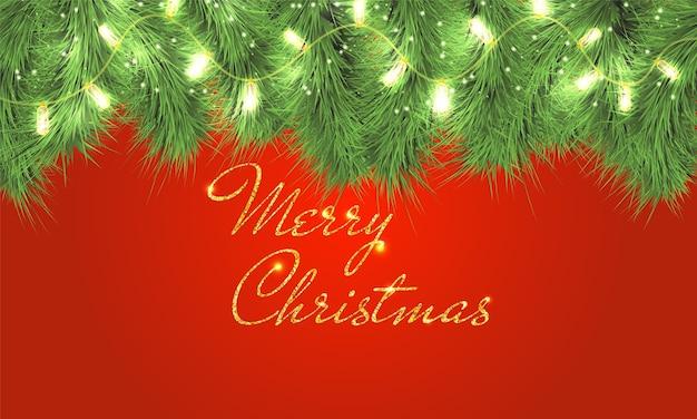 Buon natale biglietto di auguri. rami di albero di natale con luci scintillanti. ghirlanda natalizia. testo dorato.
