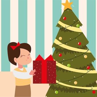 Ragazza sveglia della cartolina d'auguri di buon natale con il regalo e l'illustrazione dell'albero