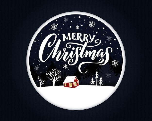 Disegno della cartolina d'auguri di buon natale. tipografia fatta a mano con ornati di calligrafia. cornice rotonda con illustrazione papercut. piccola casa rossa di notte, alberi bianchi e neve che cade.