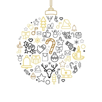 Cartolina d'auguri di buon natale. illustrazioni di vacanza di felice anno nuovo in stile contorno. vettore