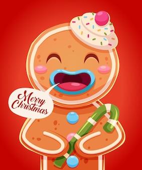 Cartolina d'auguri di buon natale design retrò. omino di pan di zenzero che tiene scatola regalo. illustrazione vettoriale