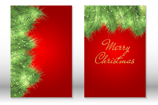 Insieme della cartolina d'auguri di buon natale. rami di albero di natale verde.