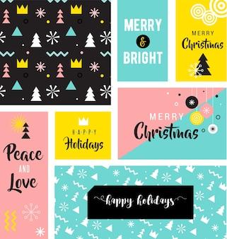 Insieme della cartolina d'auguri di buon natale. buone vacanze