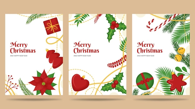 Insieme della cartolina d'auguri di buon natale