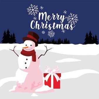 Pupazzo di neve della cartolina d'auguri di buon natale con il regalo nell'illustrazione del paesaggio di inverno