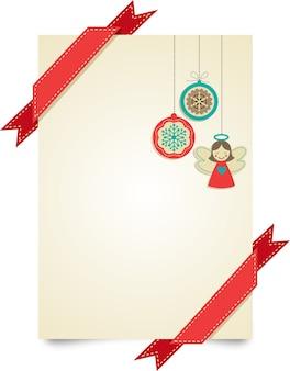 Modello di biglietto di auguri di buon natale con nastri rossi e giocattoli di natale