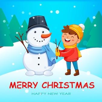 Biglietto di auguri di buon natale con bambino allegro che gioca con pupazzo di neve, simpatici personaggi dei cartoni animati. ciao concetto di inverno. illustrazione vettoriale d'archivio